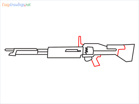 How to draw m60 Gun step (6)
