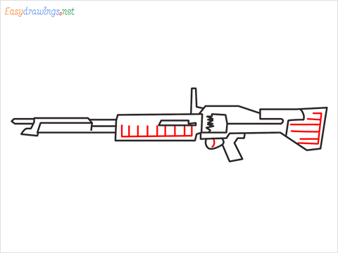 How to draw m60 Gun step (7)