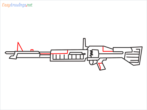How to draw m60 Gun step (8)