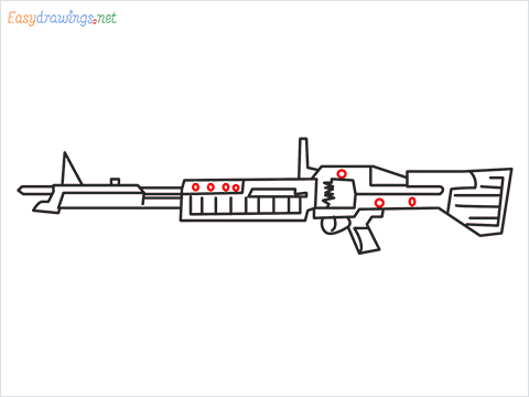 How to draw m60 Gun step (9)