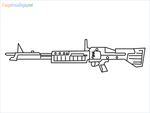 How to draw m60 Gun step by step for beginners