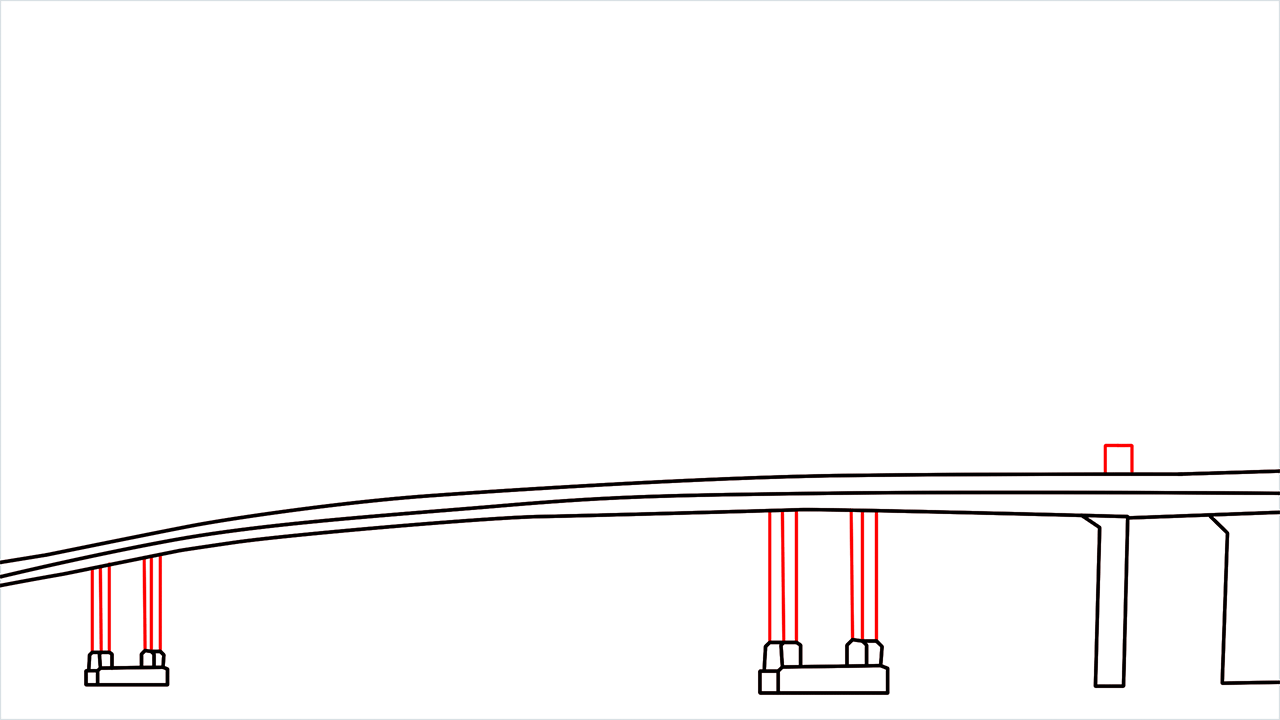 How to draw the Golden Gate Bridge step (3)