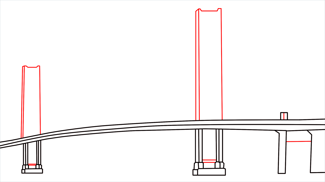 How to draw the Golden Gate Bridge step (4)