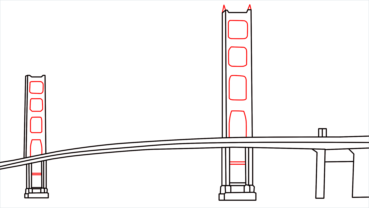 How to draw the Golden Gate Bridge step (5)