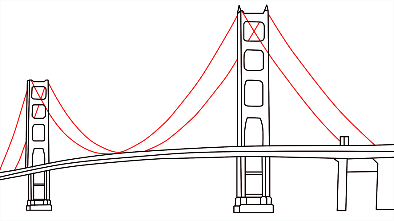 How to draw the Golden Gate Bridge step (6)