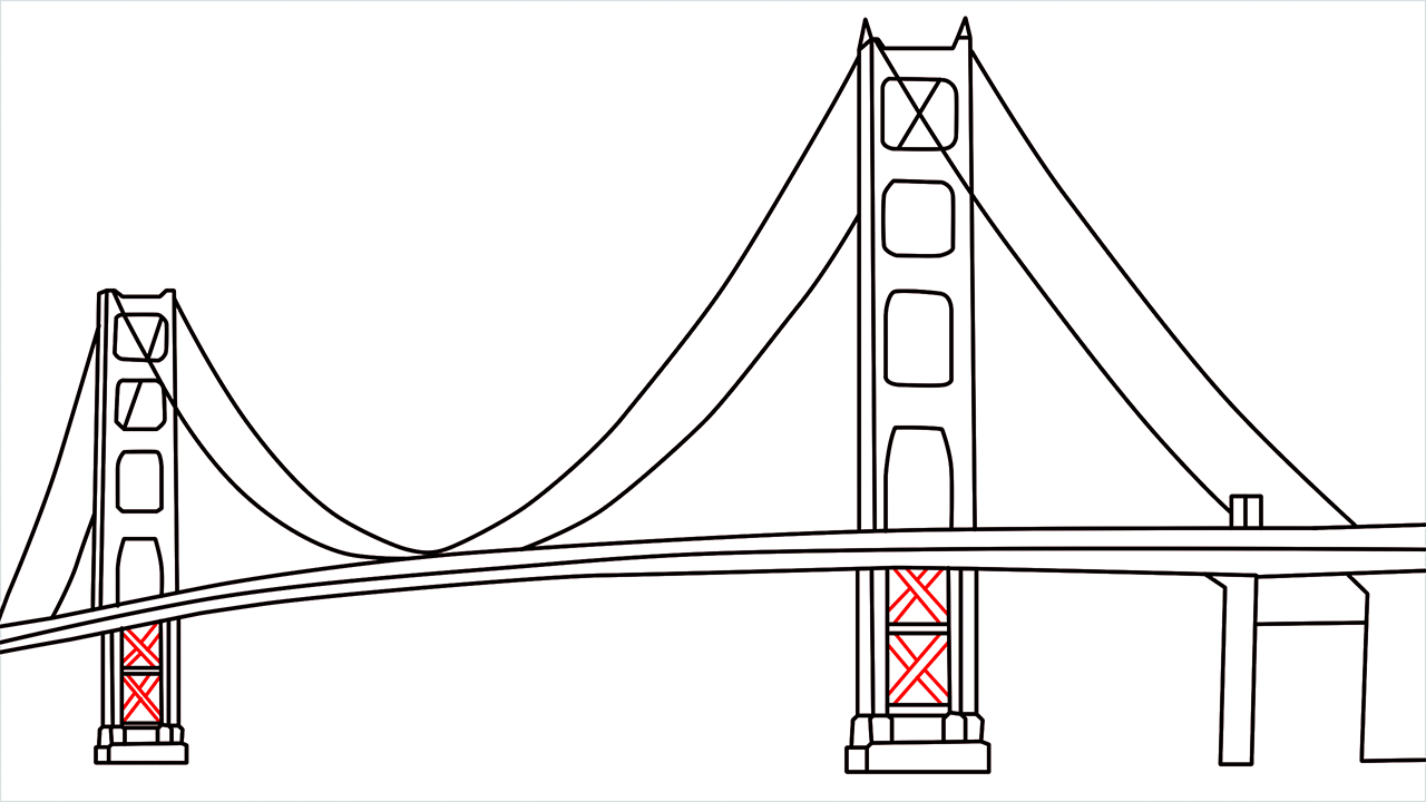 How to draw the Golden Gate Bridge step (7)