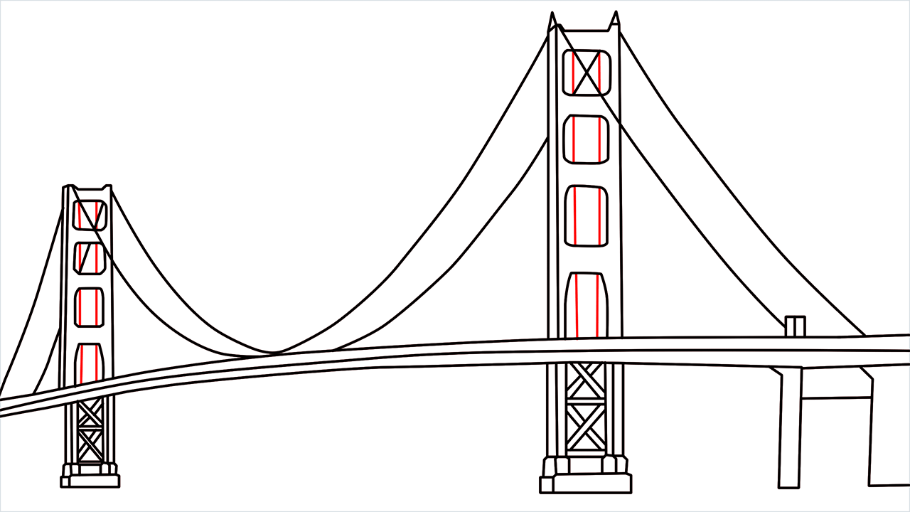 How to draw the Golden Gate Bridge step (8)