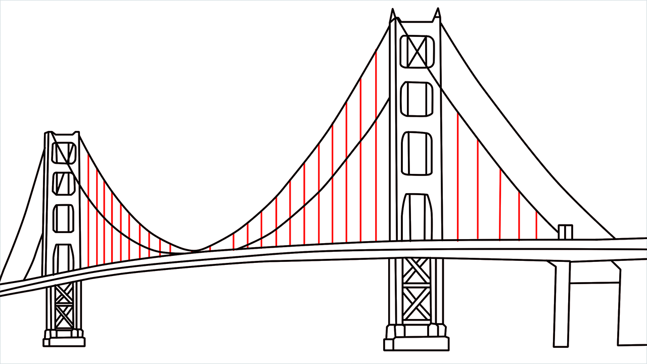 How to draw the Golden Gate Bridge step (9)