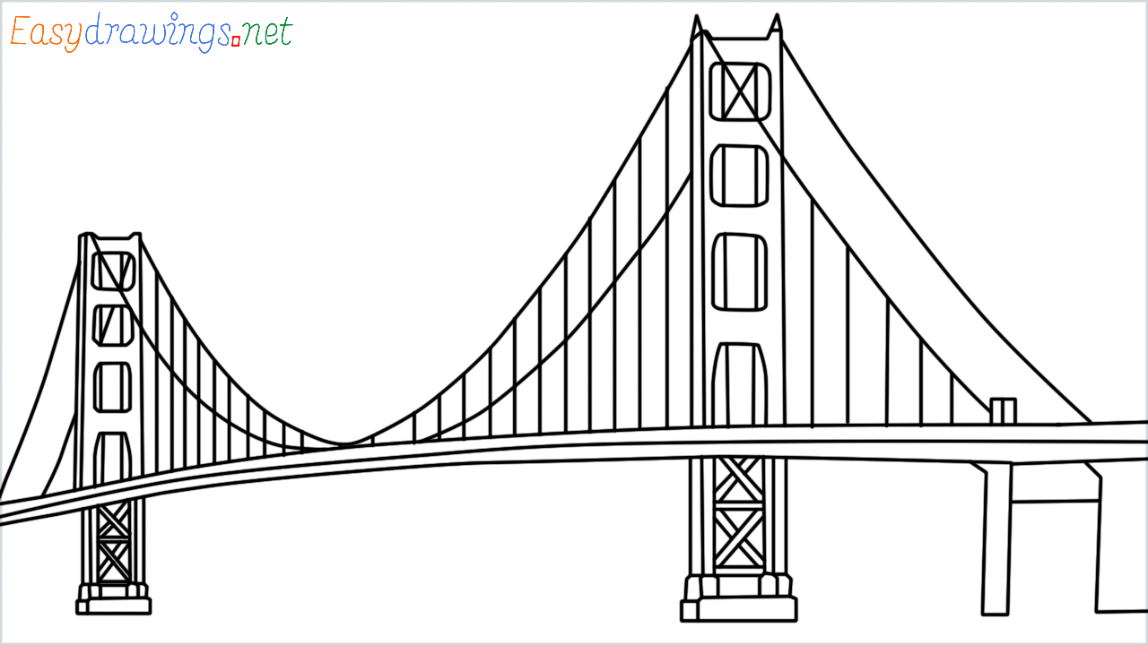 How to draw the Golden Gate Bridge step by step for beginners