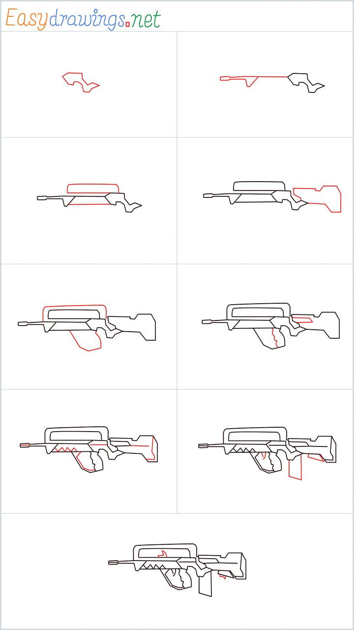 Overview for FAMAS Gun drawing