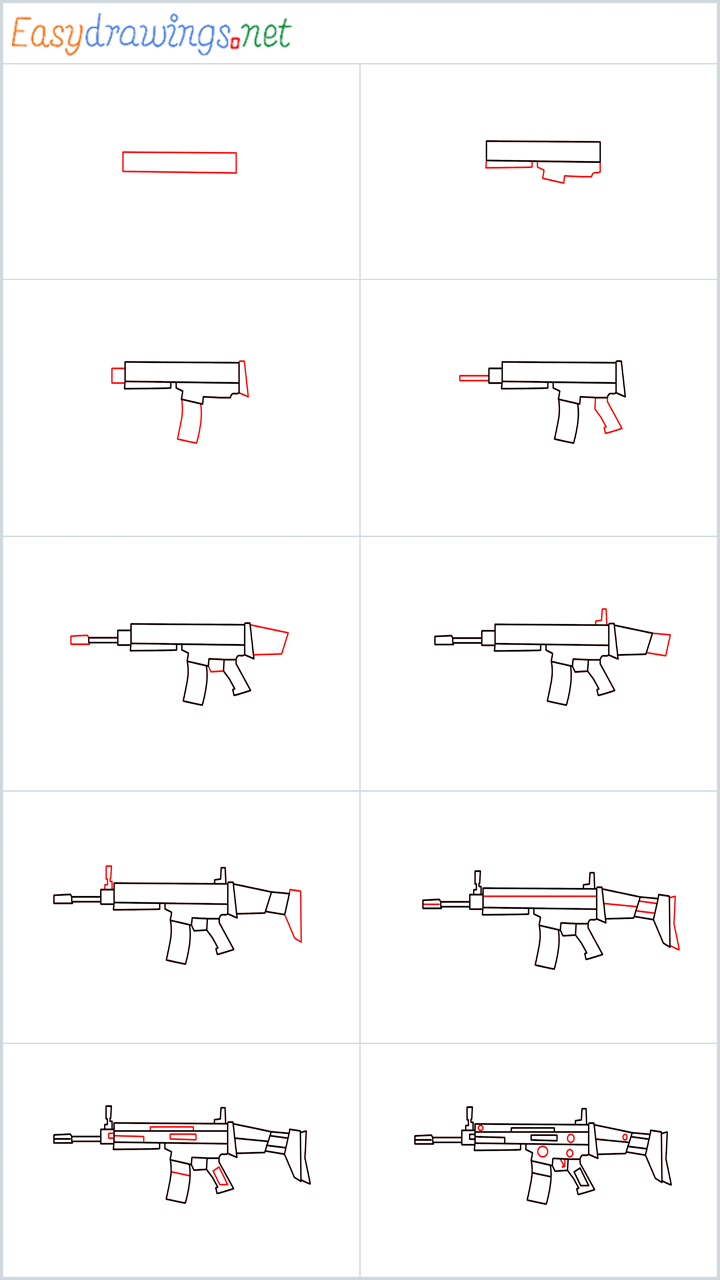 Overview for SCAR l Gun drawing