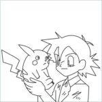 draw Ash holding pikachu