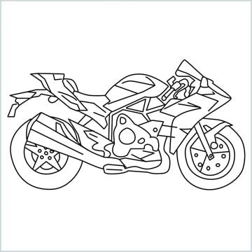 draw Kawasaki Ninja H2