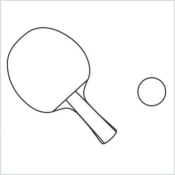 draw a Table tennis racket and ball