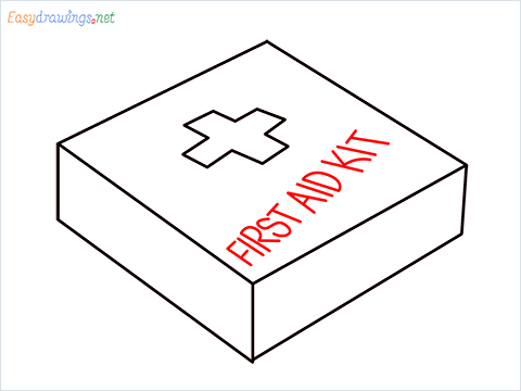 How to draw First aid kit step (5)