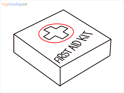 How to draw First aid kit step (6)