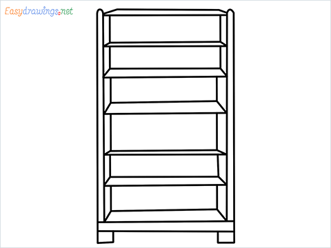 How to draw a Bookshelf step by step for beginners