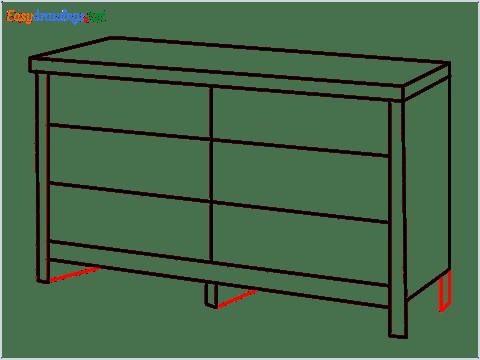 How to draw a Dresser step (7)
