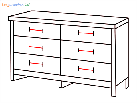 How to draw a Dresser step (9)