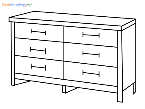 How to draw a Dresser step by step for beginners