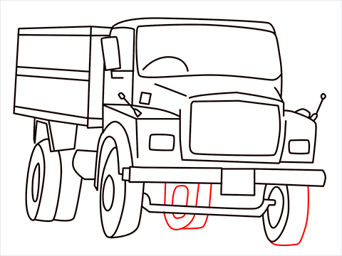 How to draw a Tipper lorry step (14)