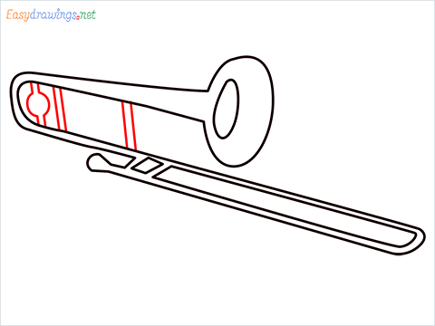 How to draw a Trombone step (7)