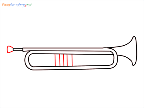 How to draw a Trumpet step (5)