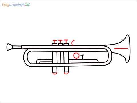 How to draw a Trumpet step (8)