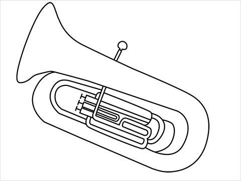 How to draw a Tuba step by step for beginners