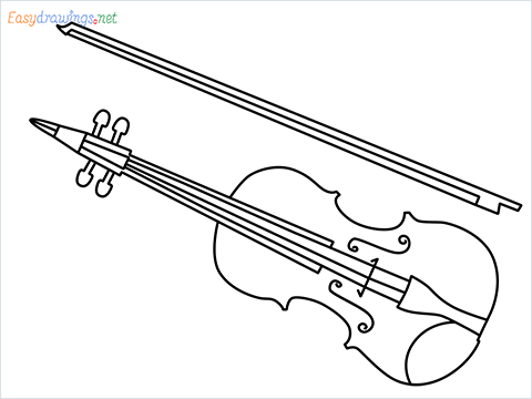 How to draw a Violin step by step for beginners
