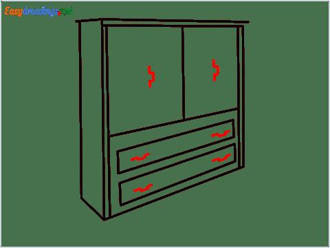 How to draw a Wardrobe step (7)