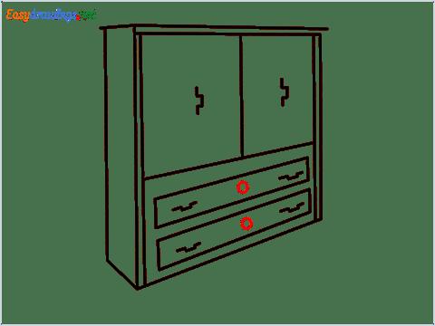 How to draw a Wardrobe step (8)