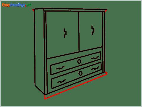 How to draw a Wardrobe step (9)