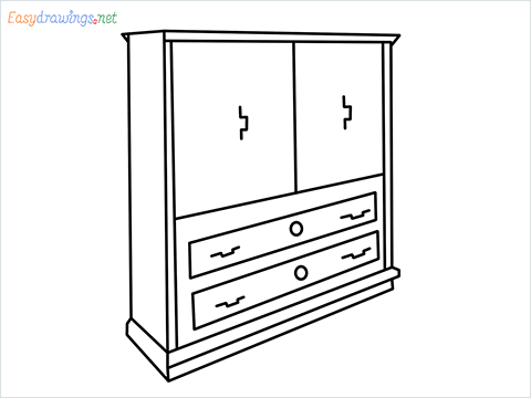 How to draw a Wardrobe step by step for beginners