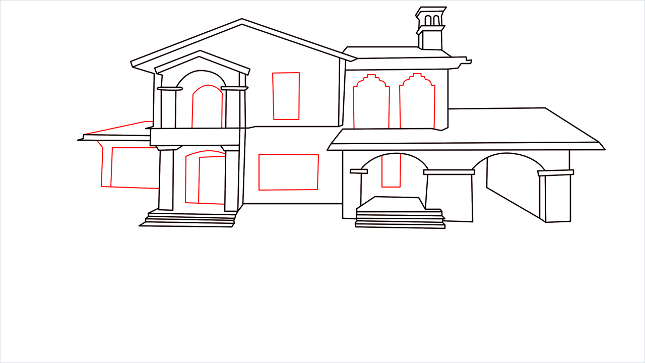 How to draw a luxury Mansion step (10)