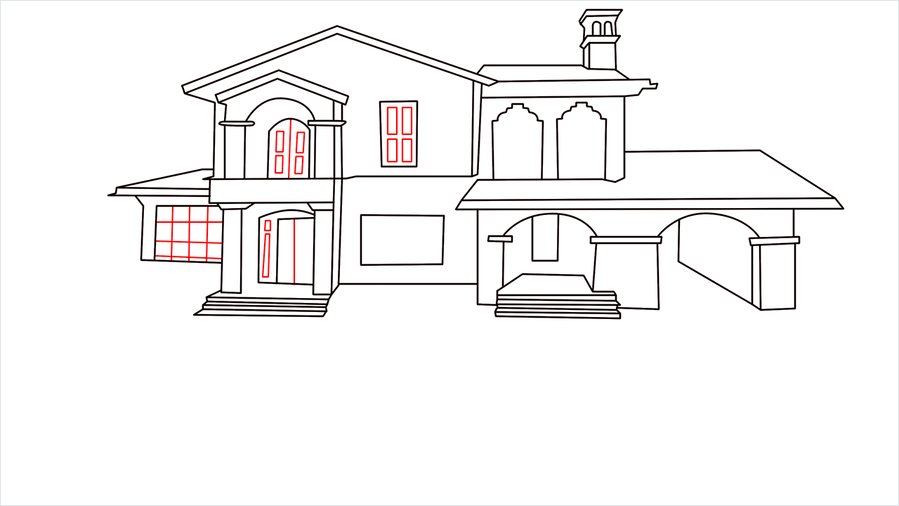 How to draw a luxury Mansion step (11)