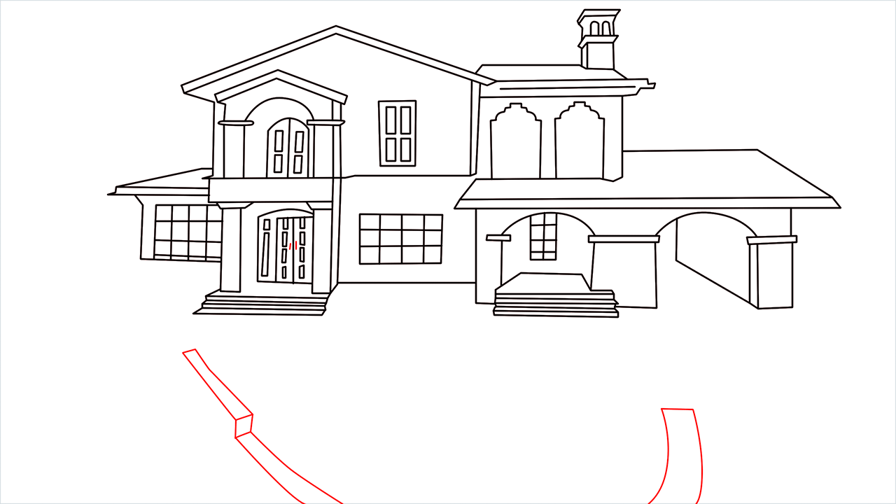How to draw a luxury Mansion step (13)