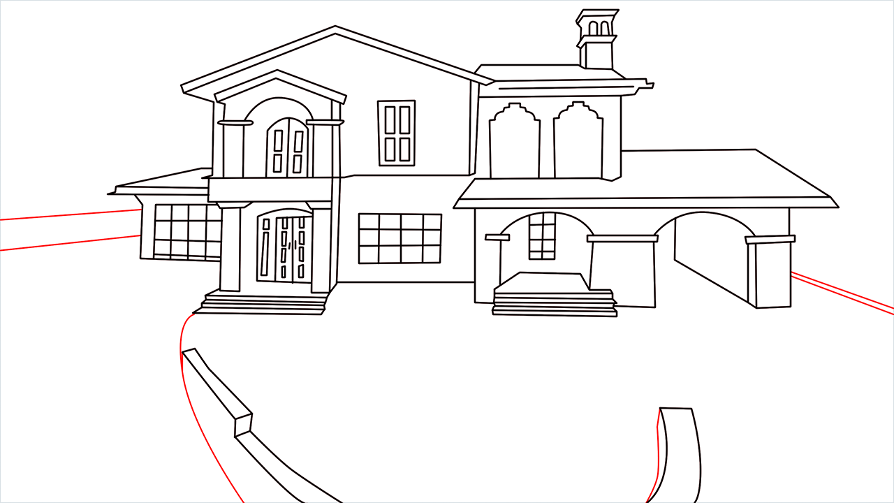 How to draw a luxury Mansion step (14)
