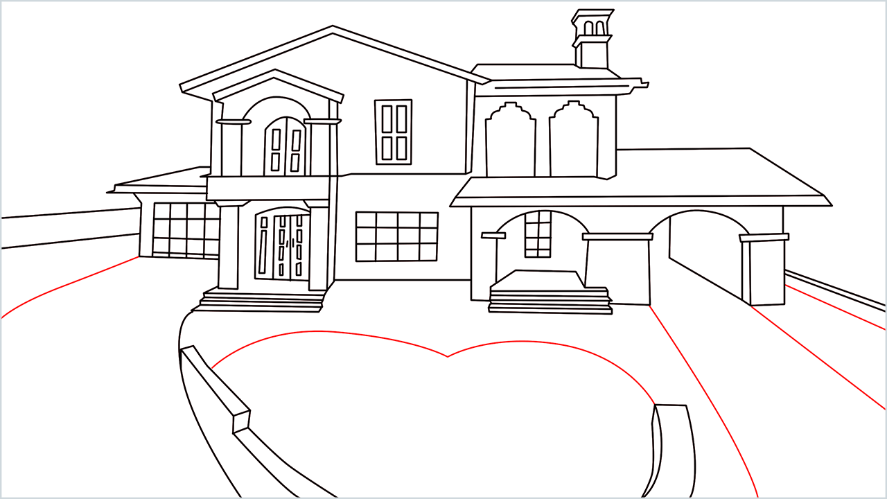 How to draw a luxury Mansion step (15)