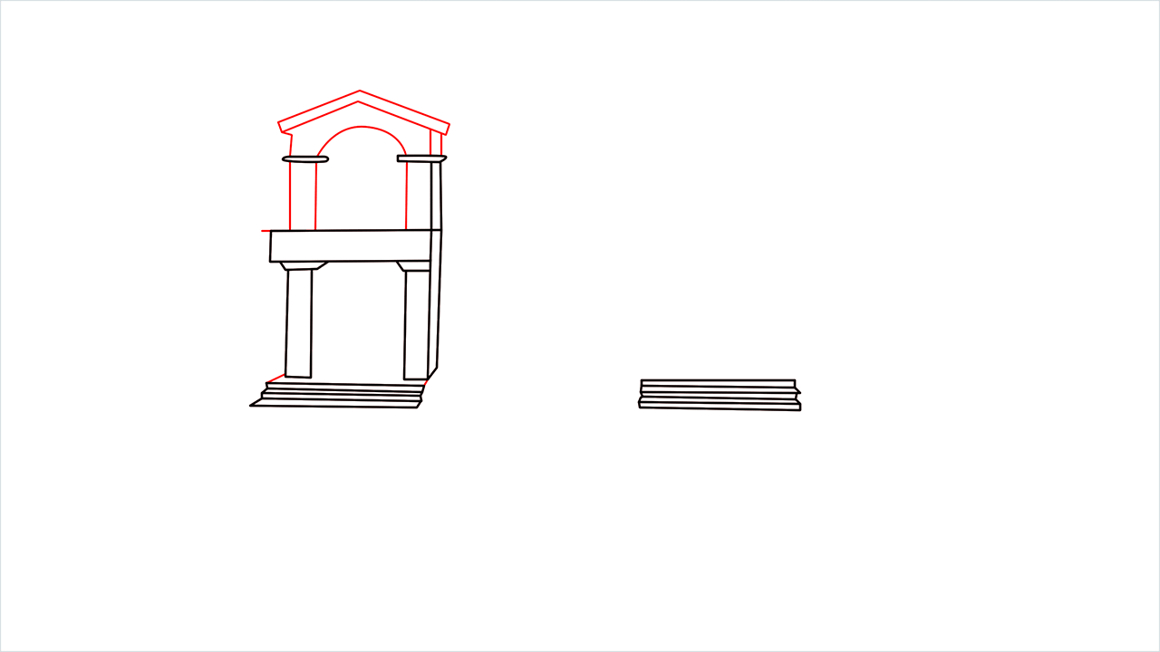 How to draw a luxury Mansion step (4)