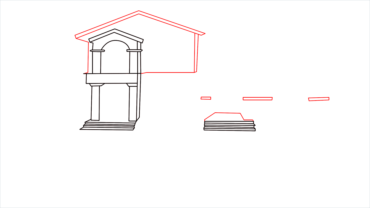How to draw a luxury Mansion step (5)