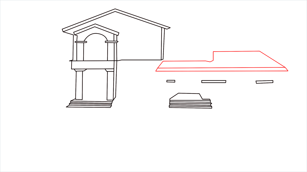 How to draw a luxury Mansion step (6)