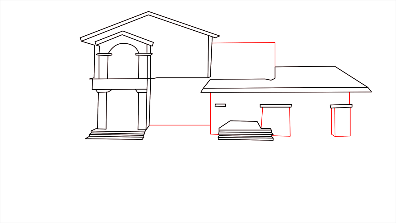 How to draw a luxury Mansion step (7)