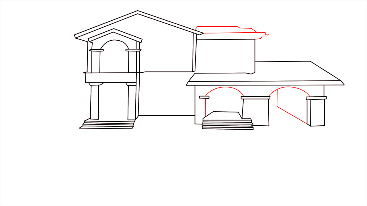 How to draw a luxury Mansion step (8)