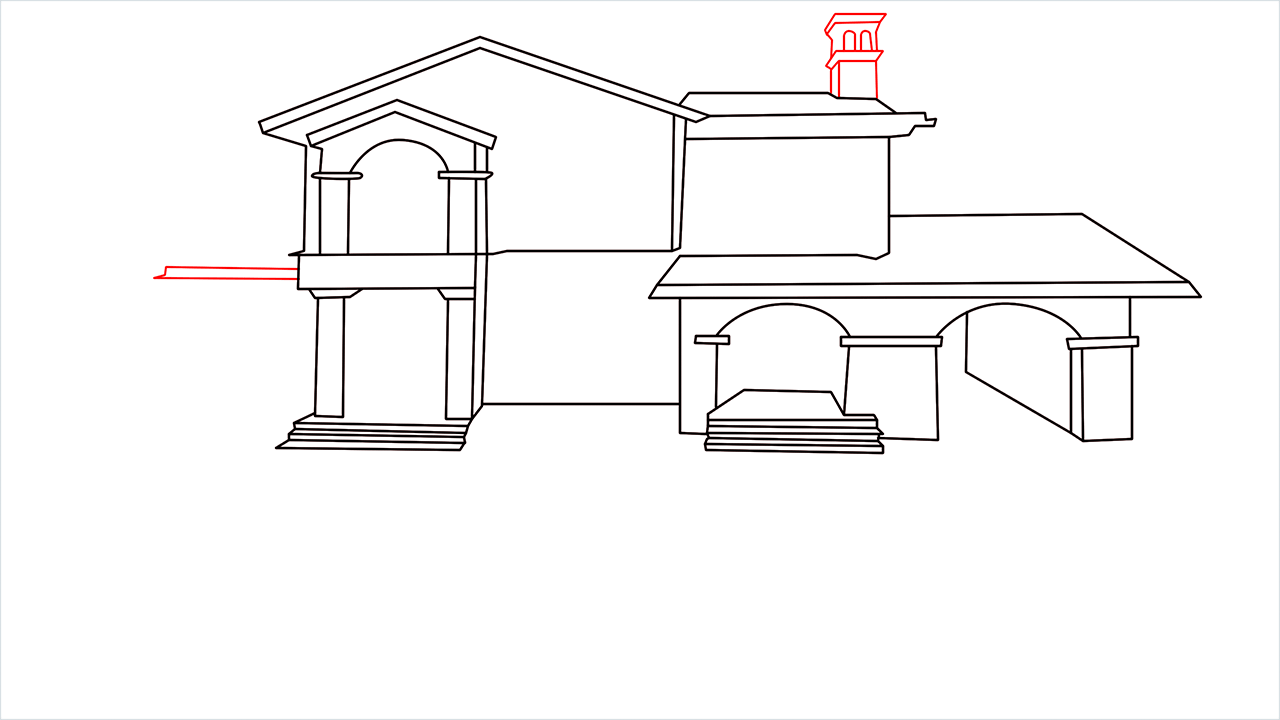 How to draw a luxury Mansion step (9)