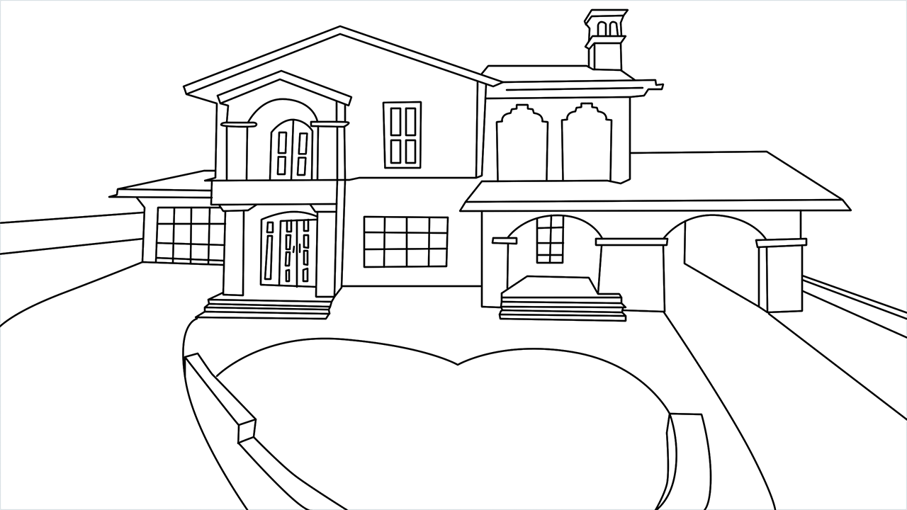How to draw a luxury Mansion step by step for beginners