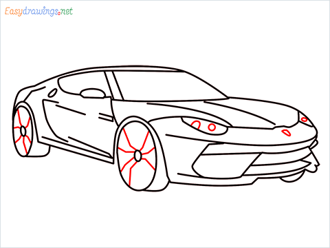 how to draw a lamborghini Asterion step (10)