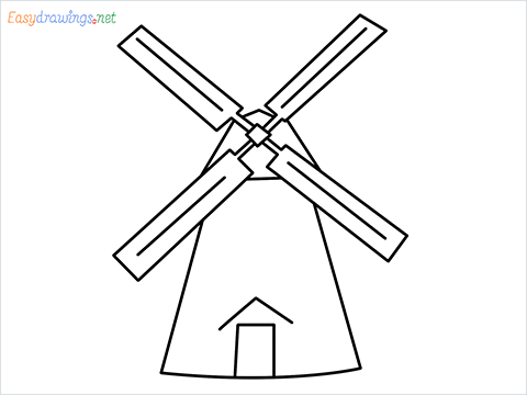 how to draw a windmill step by step for beginners