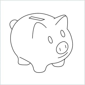 draw a piggy bank