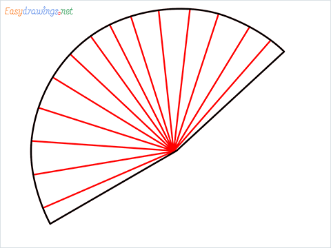 how to draw a hand fan Step (3)